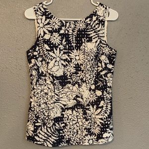 Boden floral sleeveless  eyelet top